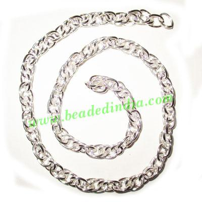 Silver Plated Metal Chain, size: 1x6.5mm, approx 17.6 meters - Silver Plated Metal Chain, size: 1x6.5mm, approx 17.6 meters in a Kg.