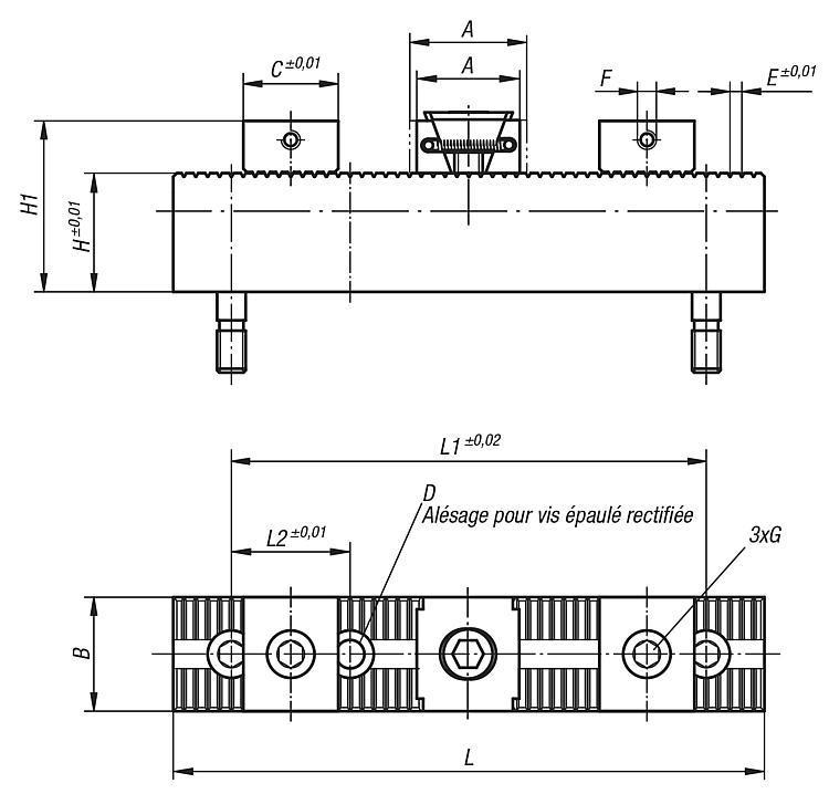 Système de serrage multiple butées et mors durs - Système de bridage multiple