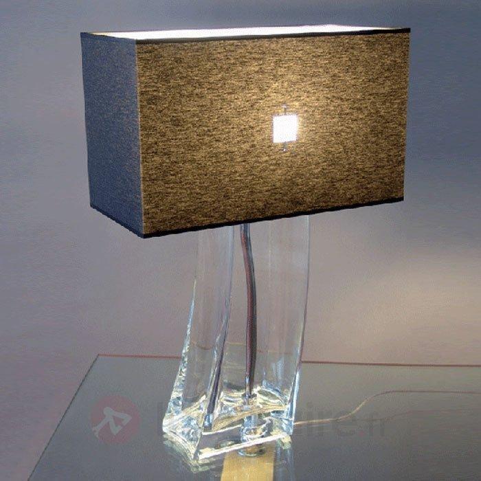 Lampe à poser noire JANINA cristal transparent - Lampes à poser en tissu