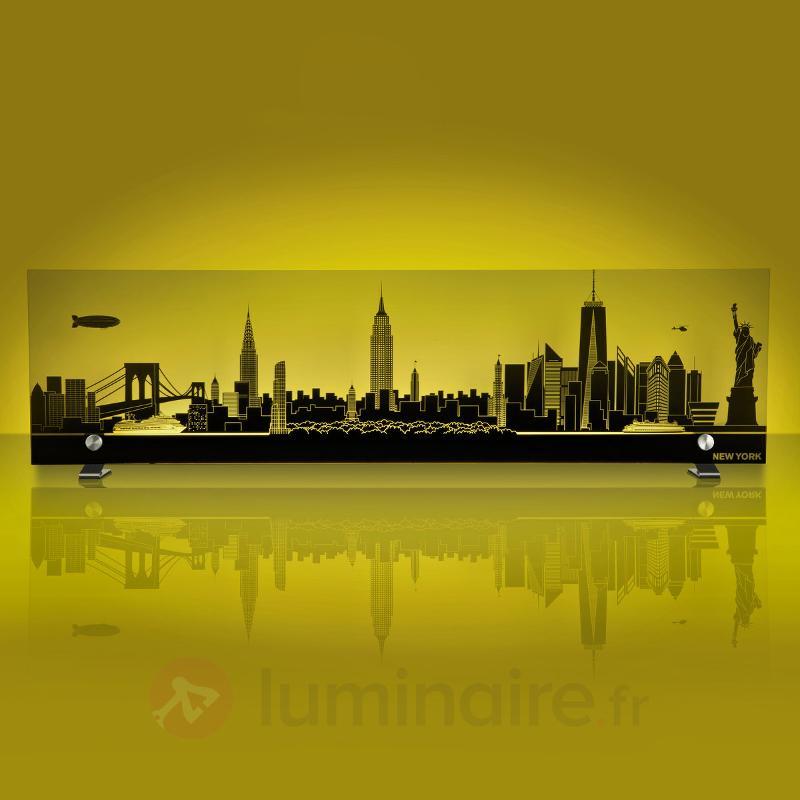 Tableau lumineux en verre Ciel de New York LED RVB - Lampes décoratives d'intérieur