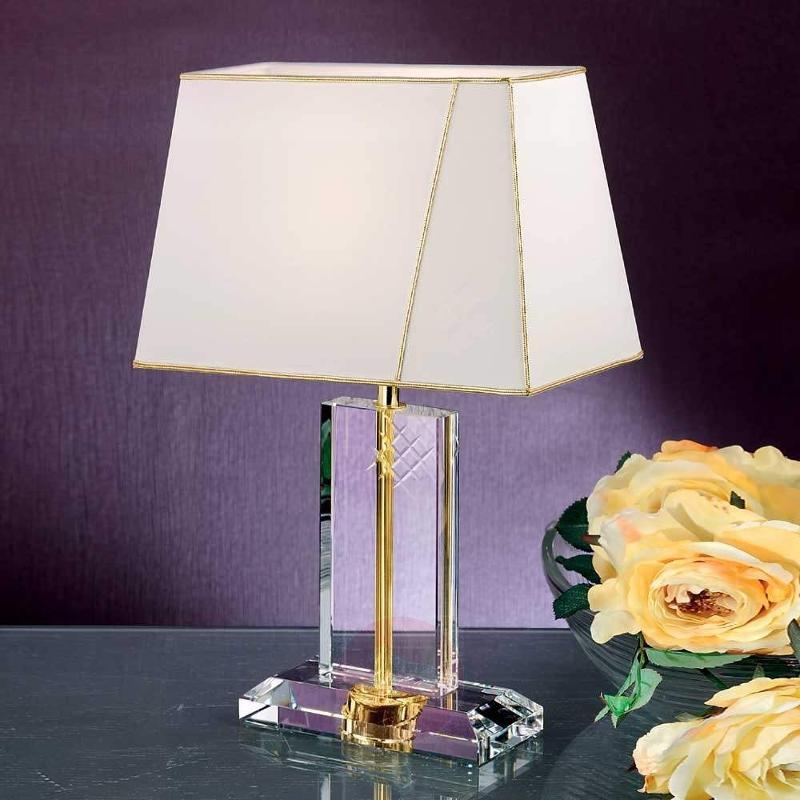 Ilaja Fabric Table Light Lead Crystal Base Gold - Bedside Lamps