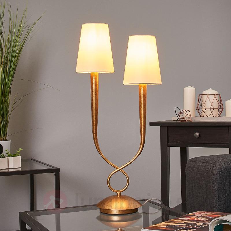 Lampe à poser à 2 lampes Paola avec abat-jour - Lampes à poser en tissu