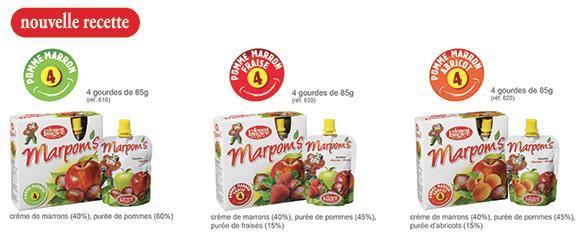 Marpom's abricot - gourde de compote de pommes abricots et marrons