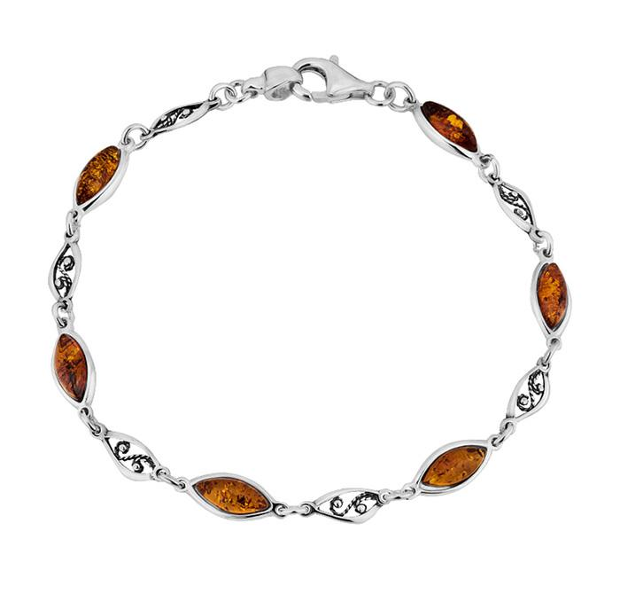 Silver 925 bracelet with amber -