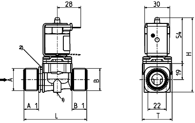 Direct acting solenoid valve, DN 10 media separated - 01.010.127
