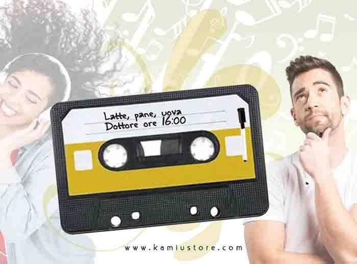 LAVAGNA MEMO BOARD A FORMA DI CASSETTA MUSICALE VINTAGE
