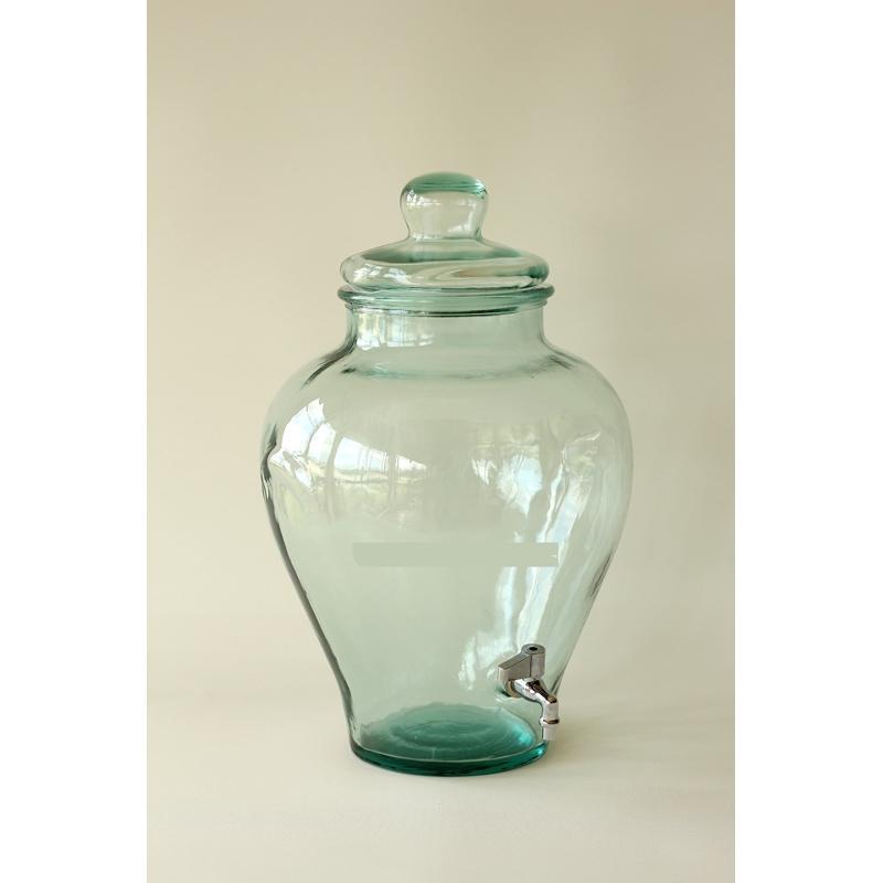 Damigiana vaso/anfora in vetro 100% riciclato - con coperchio in vetro con rubinetto