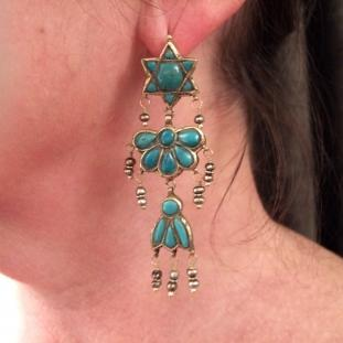 Boucles d'oreilles - Or 22ct, turquoises, perles, Iran