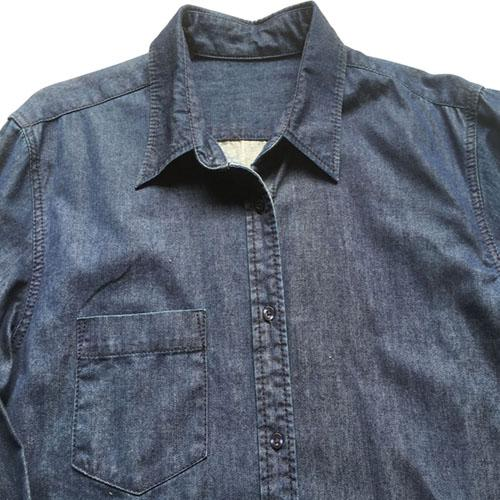 Men's casual denim shirt  Stonewashed dark blue -