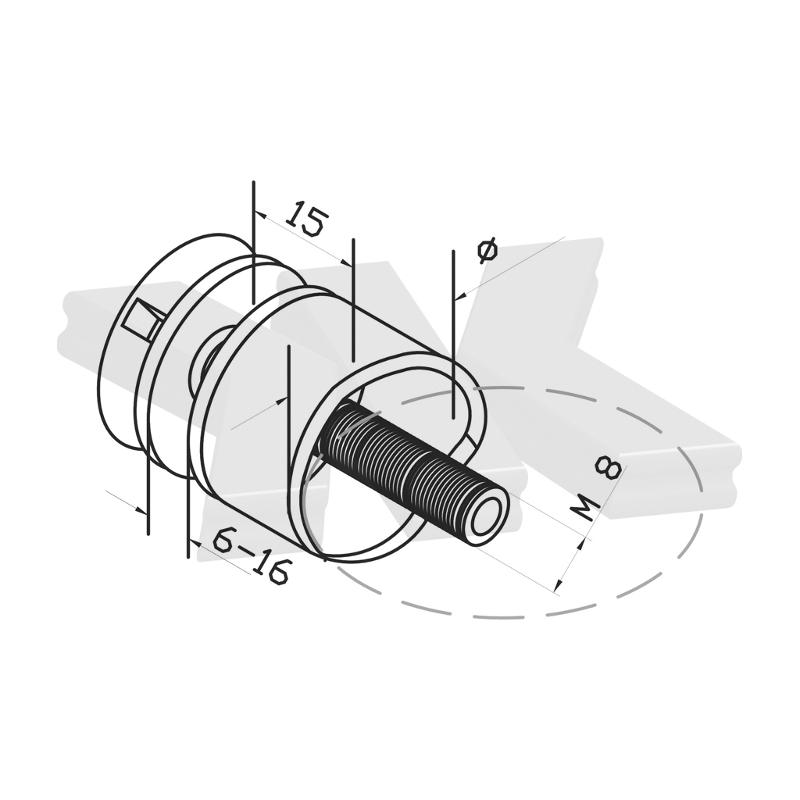Baluster point fitting Ø 30 mm, connection Ø 33,7 mm - Point fittings railing