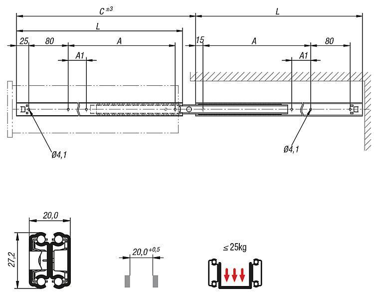 Guide telescopiche estensione extra, capacit di carico... - K0778