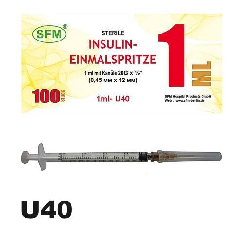 SFM Insulinspritze Einmalspritze 1ml U40 + 26G Kanüle (100) - null