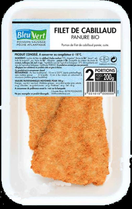 Filets de cabillaud panés - Cabillaud biologique et surgelé