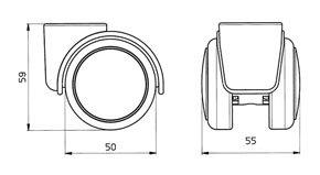 "Reinforced copolymer ""W"" type soft treads ADAPTO ® - CASTOR EMI Ø mm. 50 ""GEMIBASE"" + ""ADAPTO""®"
