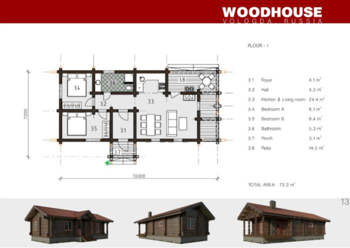 Prefabricated wooden house TRONDHEIM - Houses produced using Norwegian log processing technology
