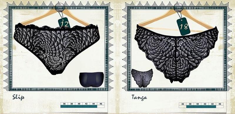 Slip et Tanga - Eventail et noir - Lingerie pour Femmes