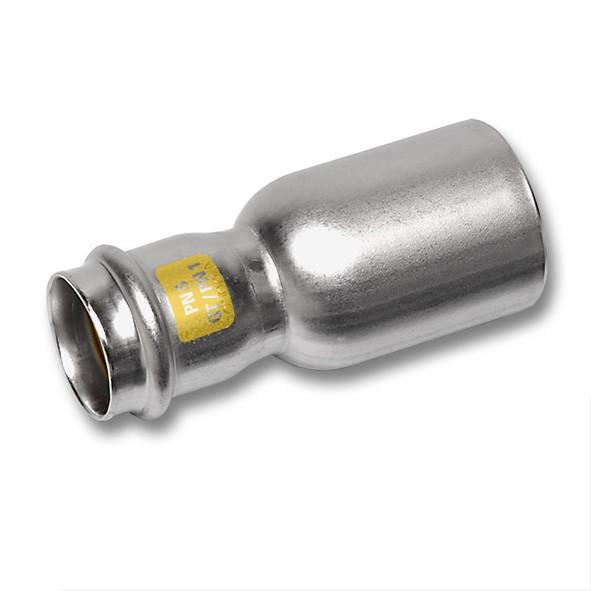 Edelstahl-Rohrleitungssystem NiroSan® Gas, Absatznippel - NiroSan® Gas Absatznippel mit Pressanschluss und Einsteckende