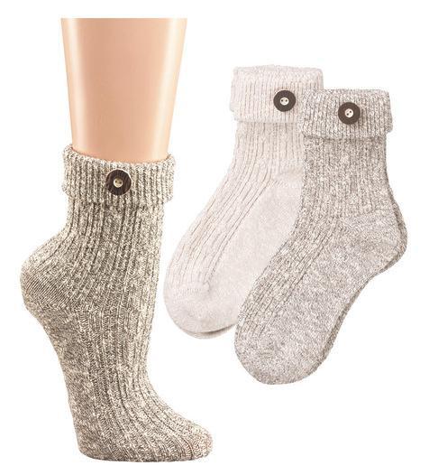 Umschlag-Socken mit Trachtenknopf - null