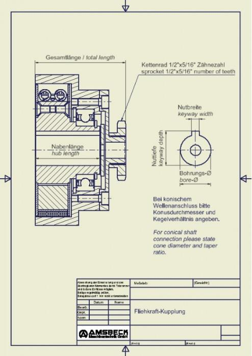 Fliehkraftkupplung mit Kettenrad - Fliehkraftkupplung mit Kettenrad / Kartkupplung