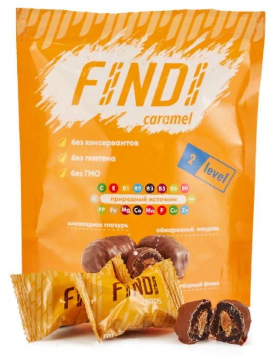 Glazed dates with almond, Caramel, 150g - FINDI