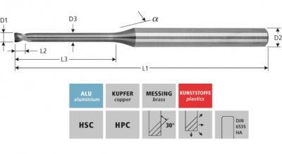 Milling Tools: for aluminium - sc micro end mill, Z=2, without edge radius