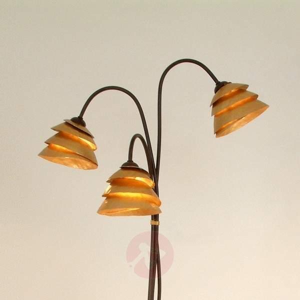 Impressive floor lamp SNAIL 3-bulb brown-gold - Floor Lamps