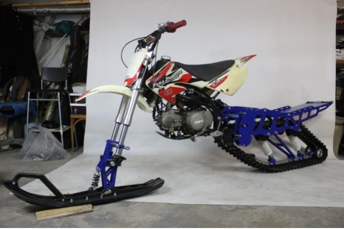 Lumipyöräsarja moottoripyörälle 250 kuutiometriä. - Sarja moottoripyörän 250 kuutiometrin muuntamiseksi lumipyöriksi