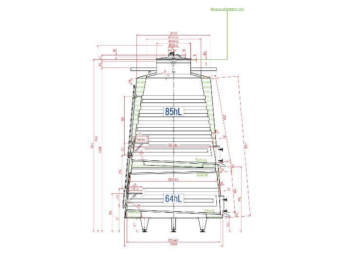 Depósito de acero inoxidable 304L - 149 HL - Trroncoconico aislado - Circuito compartimentado y de carcasa
