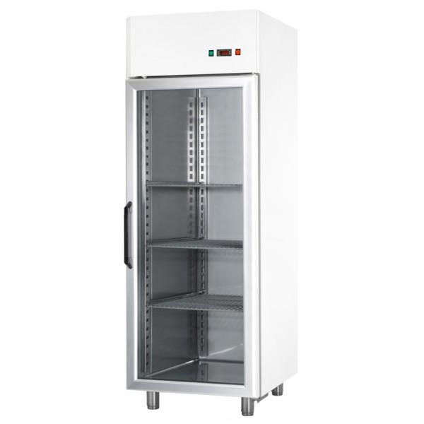 Armoires réfrigérées positives 1 porte vitrée 700L blanche Intérieur en acier in