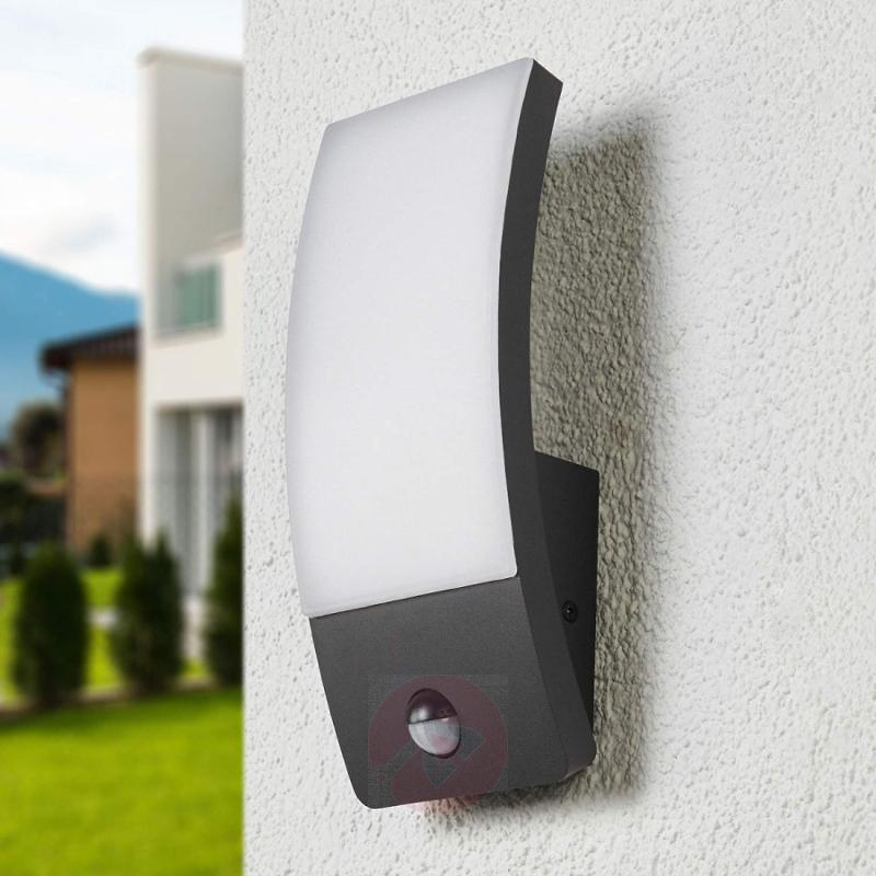 Dark grey LED outdoor wall light Siara with sensor - outdoor-led-lights