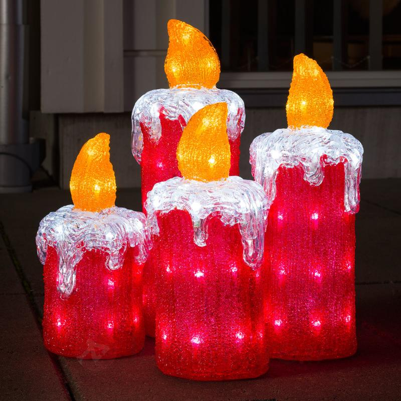 Bougies de l'Avent par 4, déco extérieure - Figurines de Noël d'extérieur