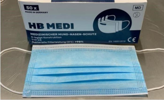 3-Schicht-Chirurgische Masken, Typ IIR (BFE ≥ 99%) - hergestellt in Deutschland