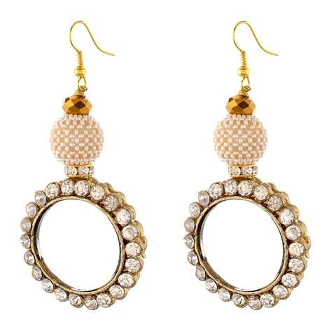 Hanging Earrings with Zircons Mirrors