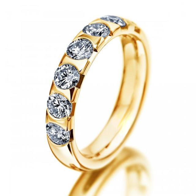 Anillo eternity - Anillo eternity en oro 18k y  6 diamantes