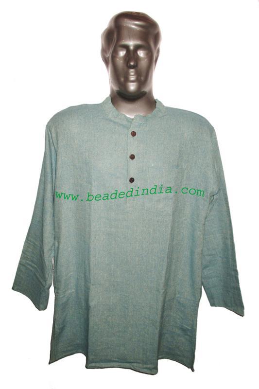 full sleeve long khadi yoga kurta, size : chest 50 x height  - full sleeve long khadi yoga kurta, size : chest 50 x height 34 inches (extra lar