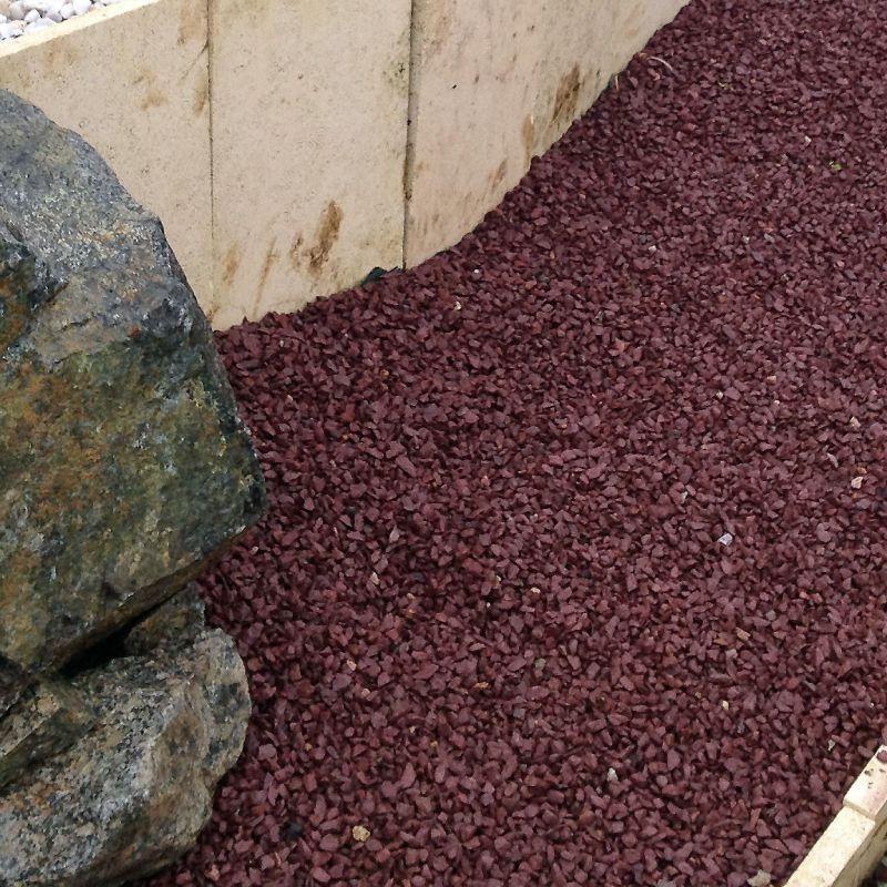 Big bag de gravier décoratif - Gravier de Schiste, Rouge Bordeaux, 6/10, en big bag