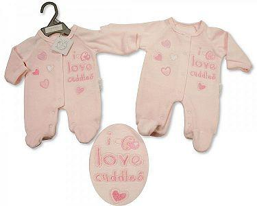 Premature Baby Girls Velour All in One - I Love Cuddles -