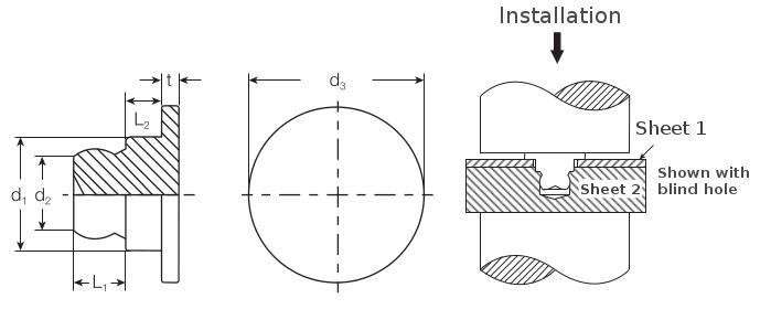 Self-clinching fasteners - PEM® - TackPin™ self-clinching fasteners