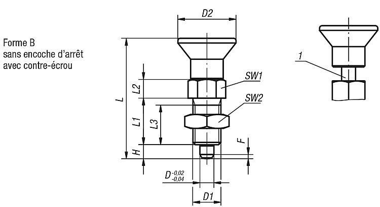 Doigts d'indexage avec repère de verrouillage - Doigt d'indexage à corps lisse