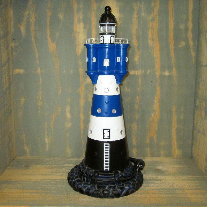 """Leuchtturm """"Blauer Sand"""" 58 cm blau-weiß - Fuß: 25 cm..."""