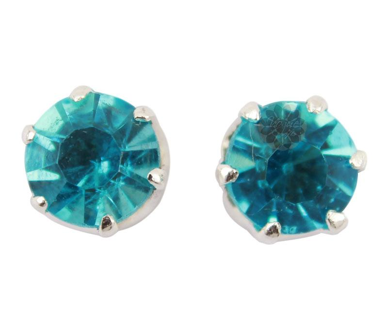 Blue Stone Silver Stud Earrings -
