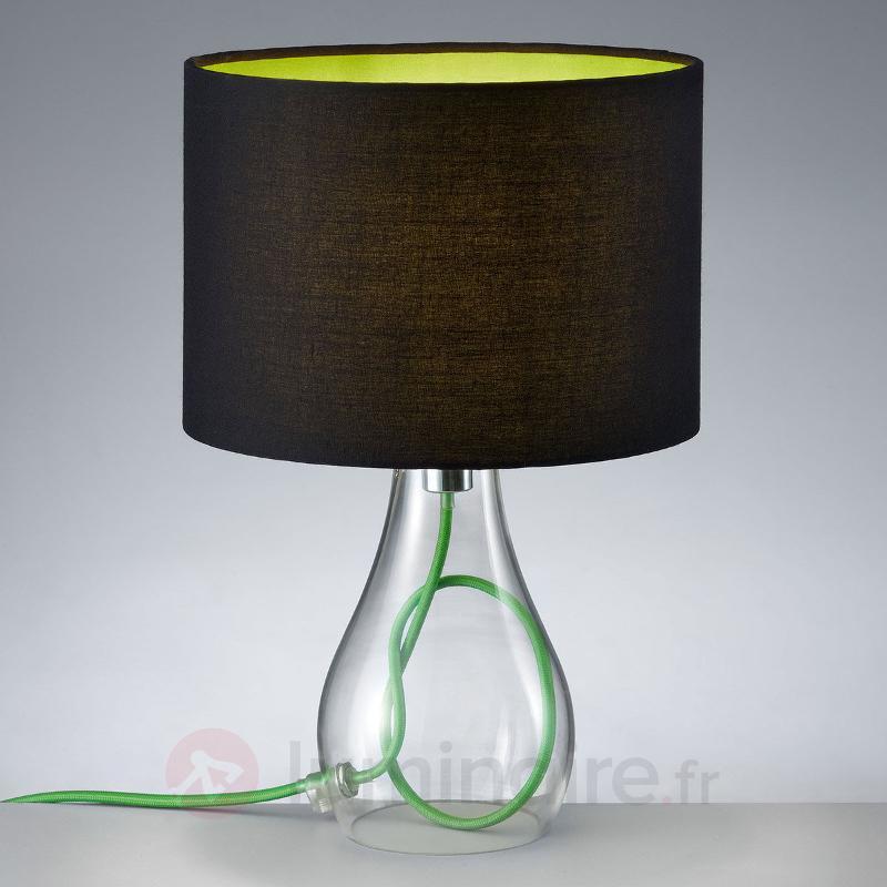 Lampe à poser Naila, abat-jour noir-vert - Lampes à poser en tissu