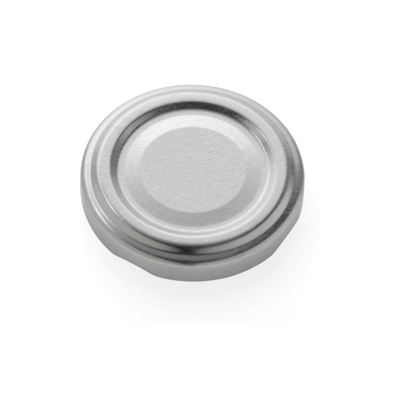 100 twist off caps Silver diam. 48 mm for pasteurization - SILVER