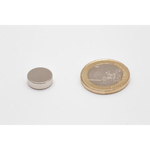 Neodymium disc magnet 12x4mm, N45, Ni-Cu-Ni, Nickel coated - Disc