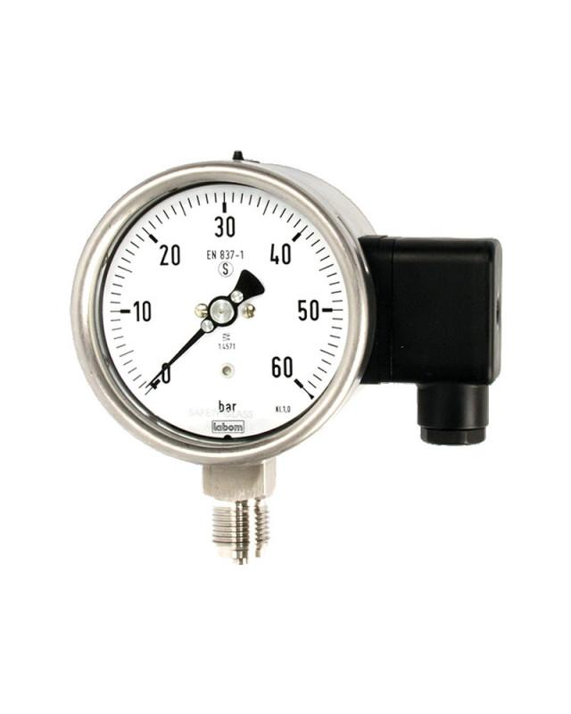 Pressure transmitter with bourdon tube NS 100/ 160 - Pressure transmitter with on-site indication for relative pressure measurements