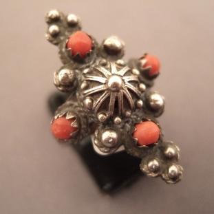 Bagues - Argent,4 perles de corail, Tibet