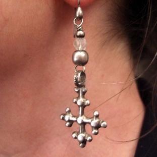 Boucles d'oreilles - Argent, cristal de roche, Ethiopie