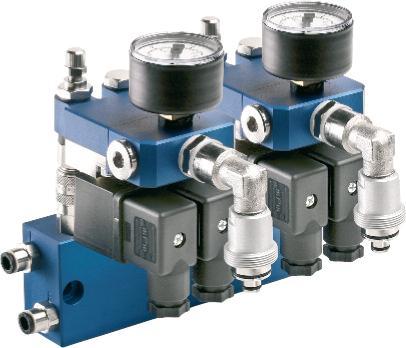 Flexibles microjet® Baukastensystem - 2-fach Zwischenverteiler mit 2 aufgekoppelten Steuerverteilern elektrisch