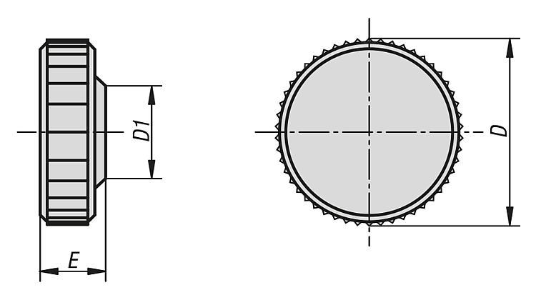 Tête moletée pour vis CHC - Poignées et boutons