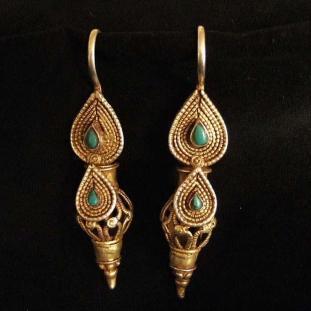 Boucles d'oreilles - Vermeil, turquoises, Afghanistan
